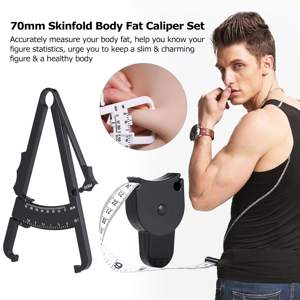 Body Fat Caliper+Body Mass Measuring Tape Tester Fitness Weight Loss Muscle